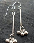 Sterling Silver Earrings with Long Dangly Post and Cluster of Beads
