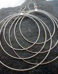 Sterling Silver Large Triple Loop Earrings