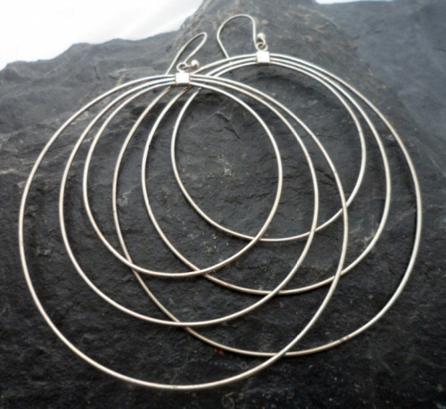 Sterling Silver Large Triple Loop Earrings