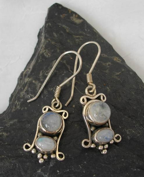 Sterling Silver Earrings with Two Oval Moonstones