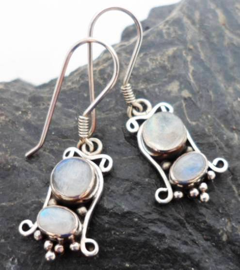 Sterling Silver Earrings with Two Moonstones