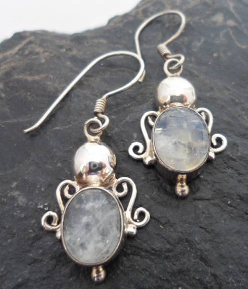 Sterling Silver Earrings with Oval Moonstone Cabochon