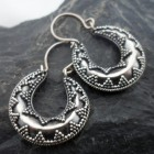 Sterling Silver Horseshoe Design Earrings with Raised Intricate Pattern