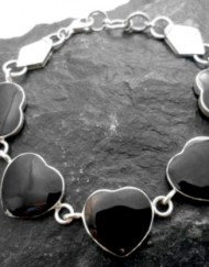 Sterling Silver Black Shell Heart Bracelet