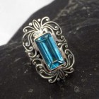 Sterling Silver Adjustable Filigree Ring with Blue Topaz