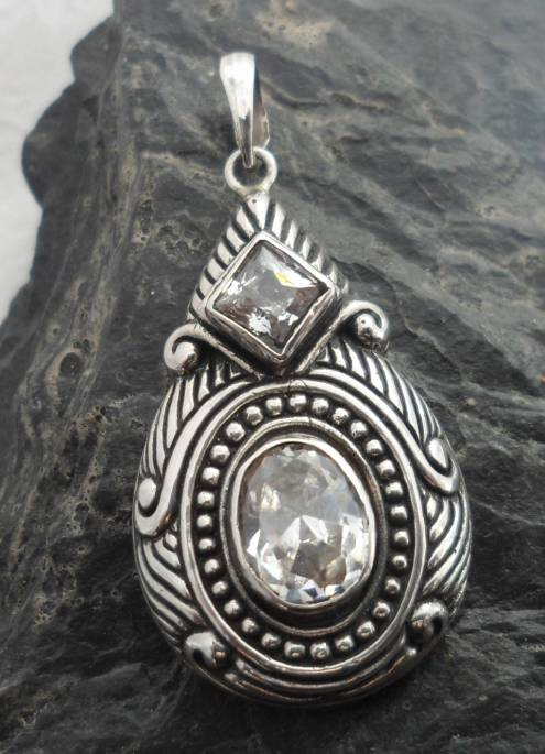 Sterling Silver Art Deco Design Pendant with Two White Topaz Gemstones