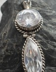 Sterling Silver Pendant with Two Faceted White Topaz Gemstones, one Marquis Cut, one Oval Cut