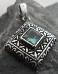 Sterling Silver Patterned Pendant with Blue Green Tourmaline Gemstone