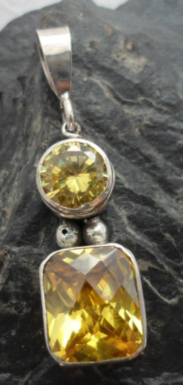 Sterling Silver Citrine Gemstone Pendant