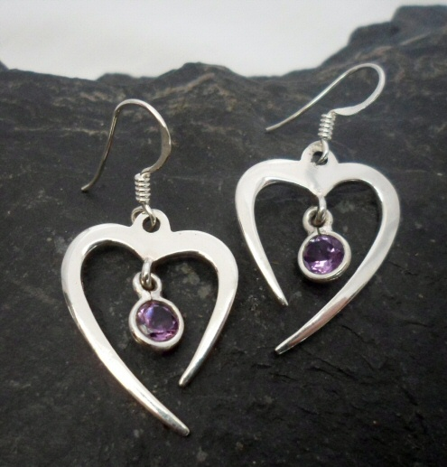 Sterling Silver Faceted Purple Amethyst Floating Heart Earrings ~Designed in India