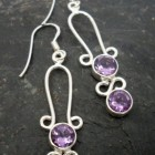 Sterling Silver Purple Amethyst Long Drop Earrings ~Designed in India