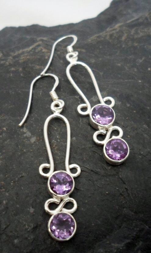 Sterling Silver Purple Amethyst Long Drop Earrings ~Designed in India