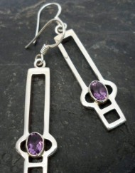 Sterling Silver Purple Amethyst Earrings in Modern Geometric Design ~Designed in India