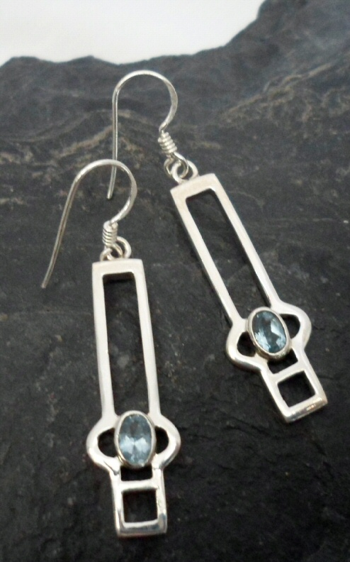 Sterling Silver Blue Topaz Earrings in Modern Geometric Design ~Designed in India