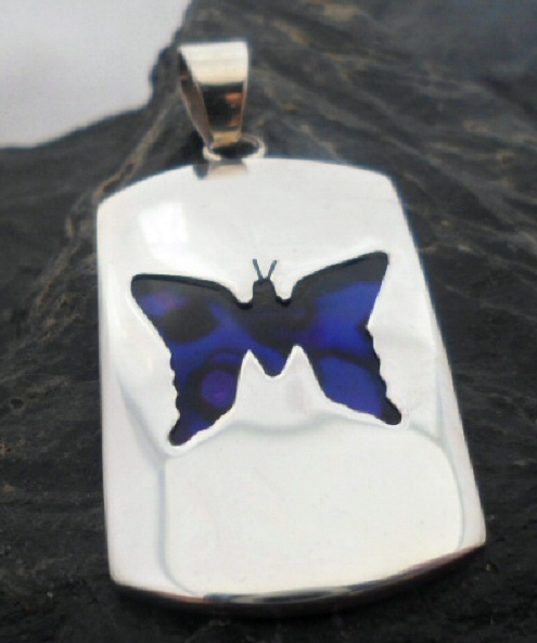 Sterling Silver Dog Tag Style Pendant with Color Enhanced Purple Abalone Butterfly