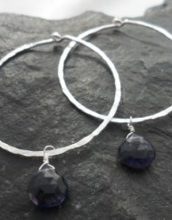 Sterling Textured Hoops with Removable Faceted Tear-drop Iolite ~Designed in India
