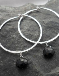 Sterling Silver Hoops with Removable Faceted Tear-drop Onyx ~Designed in India