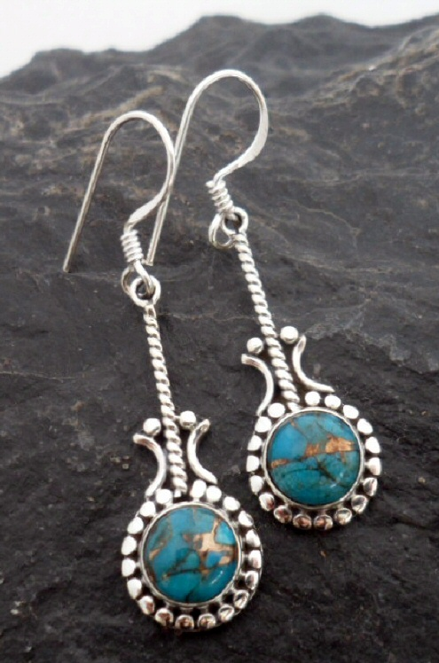 Sterling Silver Long Drop Round Mohave Turquoise Earrings ~Designed in India