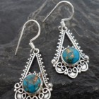 Sterling Silver Filigree Copper-filled Mohave Turquoise Earrings ~Designed in India
