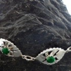 Sterling Silver Natural Indian Emerald Bracelet Southwestern Style ~Designed in India