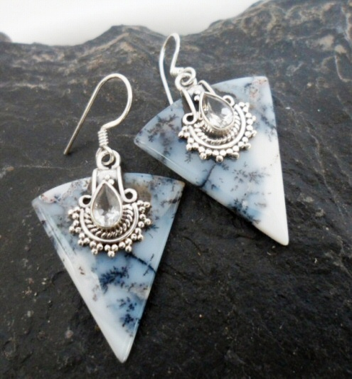 Sterling Silver Dendritic Opal Earrings with Faceted White Topaz ~Designed in India