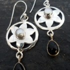 Sterling Silver Flower Earrings with Pearl and Black Onyx ~Designed in India