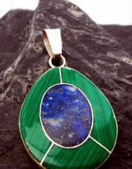 Sterling Silver Oval Malachite and Lapis Lazuli Pendant ~Made in Chile