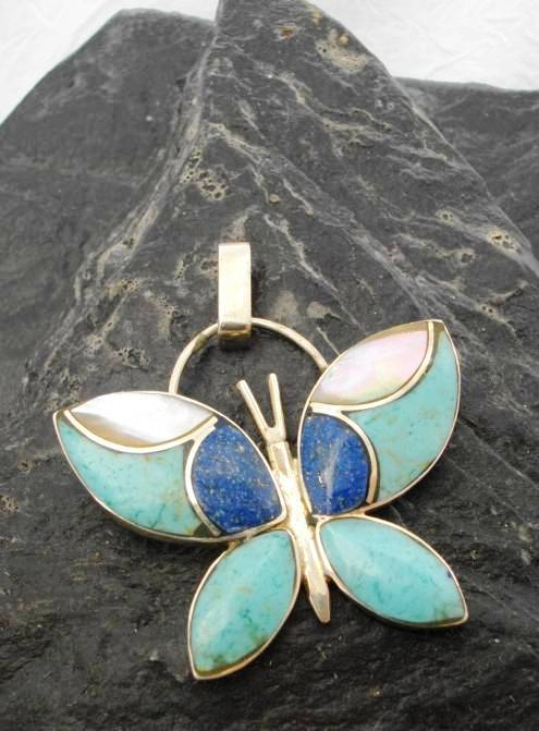 Sterling Silver Lapis Lazuli and Turquoise Butterfly Pendant Made in Chile