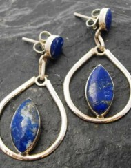 Sterling Silver Tear drop and Marqui Cut Lapis Lazuli Stud Earrings ~Made in Chile