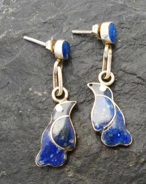 Sterling Silver Lapis Lazuli National Bird of Chile Stud Earrings