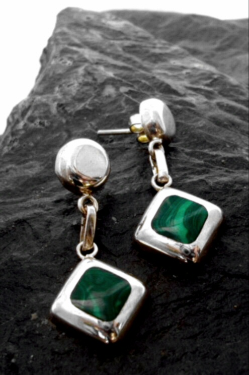 Sterling Silver Malachite Drop Diamond Shape Stud Earrings Designed in Chile