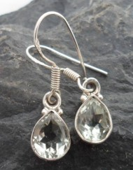 Sterling Silver Tear-Drop Prasiolite Gemstone Earrings