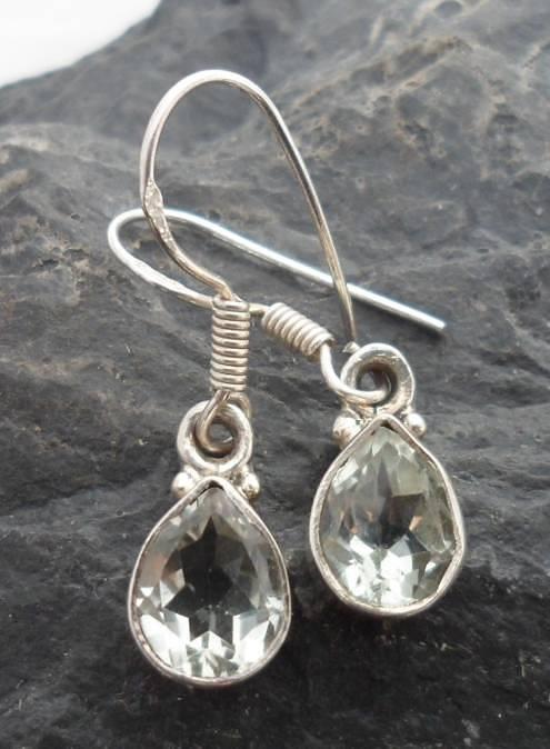 Sterling Silver Tear-Drop Prasiolite Gemstone Earrings