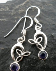Sterling Silver Faceted Iolite Earrings Dainty Filigree Design Made in India