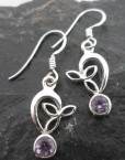 Filigree Sterling Silver Faceted Amethyst Earrings Designed in India