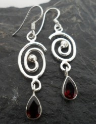 Sterling Silver Garnet Tear-Drop Earrings with Swirl Pattern~Designed in India