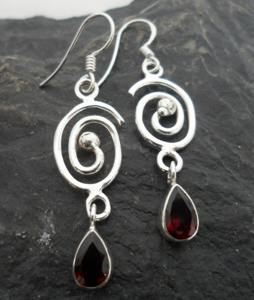 Sterling Silver Garnet Tear-Drop Earrings with Swirl Pattern~Designed in India