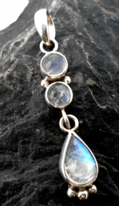 Dainty Sterling Silver drop Pendant with 3 Cascading Moonstone Cabochons
