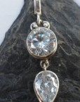 Sterling Silver Pendant with Two White Topaz Gemstones