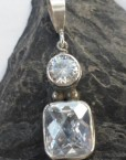 Sterling Silver Drop Pendant with Two Faceted White Topaz Gemstones