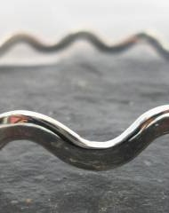 Polished Sterling Silver Wavy Bangle Bracelet