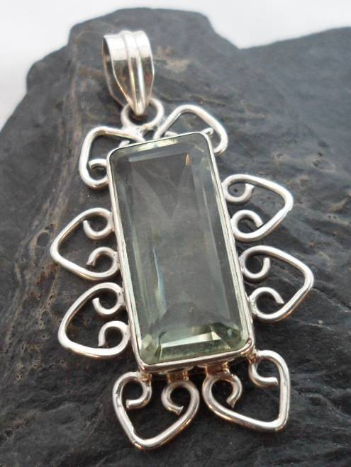 Sterling Silver Pendant with Baguette Cut Prasiolite Gemstone ~Made in India, $26.00