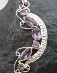 Sterling Silver Pendant with Six Amethyst Gemstones ~Designed in India, $38.00