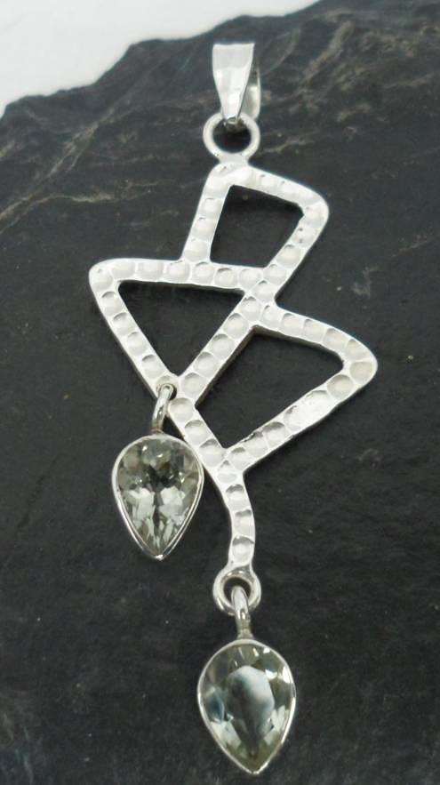 Sterling Silver Double Tear-drop Prasiolite Pendant