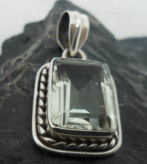 Sterling Silver Green Amethyst Rectangular Pendant ~Designed in India, $23.00