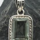 Sterling Silver Prasiolite Rectangular Pendant ~Designed in India, $23.00