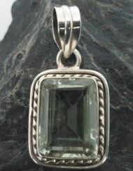 Sterling Silver Prasiolite Rectangular Pendant ~Designed in India, $23.00