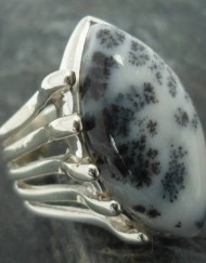Large Sterling Silver Marquis Cut Dendrite Opal Ring ~size 8.5 ~Designed in India