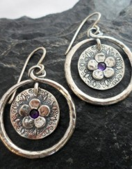 Sterling Silver Double Circle Amethyst Flower Earrings ~signed by the Artist