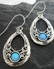 Hammered Sterling Silver Filigree Tear-drop Shaped Opal Earrings